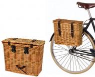 Cartella per Portapacco Bici Fissaggio Laterale in Vimini Stile Retrò Vintage
