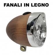 Riflettore o Fanale Bici Classica Anteriore a LED con Corpo in Legno