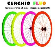 Ruota Bici FIXED PISTA 28 Pollici 700x18/28 Anteriore o Posteriore Cerchio a Profilo Colore FLUO'