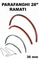 Parafanghi Bici 28 Pollici Vintage Retrò in Alluminio Martellati Sezione 36 mm Colore Silver, Rame o Ramati