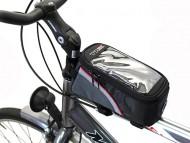 Bustino per Bici Portaoggetti Fissaggio a Canna Centrale con Portacellulare Touch