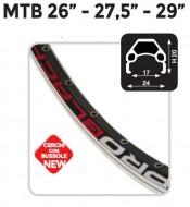 Cerchio Ruota Bici MTB 26 27.5 29 Pollici in Alluminio 32 o 36 Fori Profilo 20 mm con Bussole Colore Nero