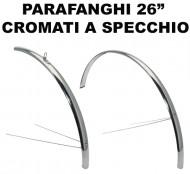 Parafanghi Bici 26 Pollici Sportiva in Acciaio Cromato a Specchio Lucido
