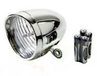Fanale Bici Anteriore a LED Stile Classico Cromato a Batteria