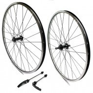 Ruote Bici Mountain Bike 26x1.125>1.75 TIOGA 28 Raggi Cerchio Colore Nero/Bianco 6/7 Velocità