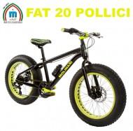 Bici 20 Pollici Bimbo da 8 a 12 Anni MTB FAT BIKE Telaio in Alluminio Freni a Disco Modello BIG FAT