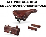 Kit Vintage Bici Classica Sella con Borsetta e Manopole in Cuoio Invecchiato