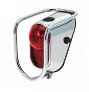 Fanale Bici Posteriore al Parafango a Batteria LED in Acciaio Cromato con Protezioni ANTI-URTO