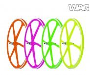 Ruote Bici FIXED PISTA 28 Pollici o 700x18/28 Anteriore o Posteriore 6 Razze Colore al NEON