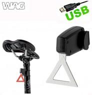 Fanale Bici Posteriore Batteria Ricaricabile USB TRIANGLE LED Rosso COB