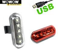 Fanale Bici Anteriore o Posteriore 5 LED Batteria Ricaricabile USB