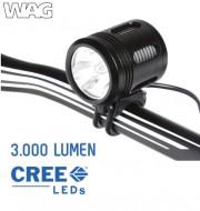 Fanale Bici Anteriore CREE LEDS Batteria Ricaricabile Litio 3000 LUMEN