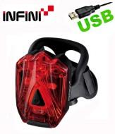 Fanale Bici Posteriore Batteria Ricaricabile USB 3 Super LED Rosso