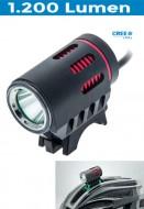 Fanale Bici Anteriore a Batteria Ricaricabile al Manubrio o Casco X-POWER 1200 Lumen