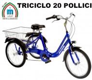 Bici Triciclo 20 Pollici Telaio Alluminio 3 Ruote con Cambio Shimano 6 Velocità Modello RIO