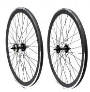 Ruote Bici FIXED PISTA 28 Pollici o 700x18/25 Cerchio Profilo Alto 40 mm Colore Nero
