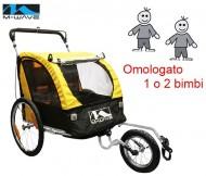 Carrello o Carretto Bici Portabambino 2 Posti Trasporto 1 o 2 Bimbi Passeggino a 3 Ruote Portata Max 60 Kg