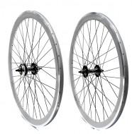 Ruote Bici FIXED PISTA 28 Pollici o 700x18/25 Cerchio Profilo Alto 40 mm Colore Silver Grigio