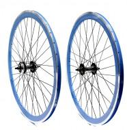 Ruote Bici FIXED PISTA 28 Pollici o 700x18/25 Cerchio Profilo Alto 40 mm Colore Azzurro BLU