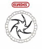 Disco Freno Bici ELVEDES in Acciaio INOX Alleggerito a 6 Fori diametro 160 o 180 mm