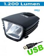 Fanale Bici Anteriore con Batteria Ricaricabile USB al Manubrio STARLIGHT 1200 Lumen